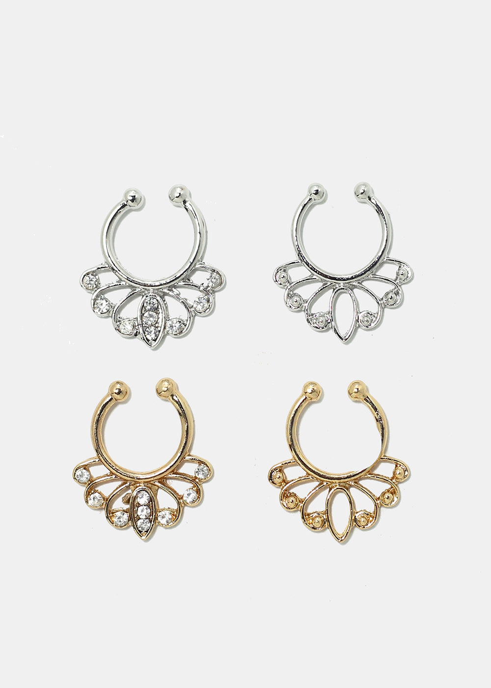 2-Piece Filigree Faux Septum Rings