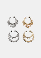 2-Piece Ornate Faux Septum Rings