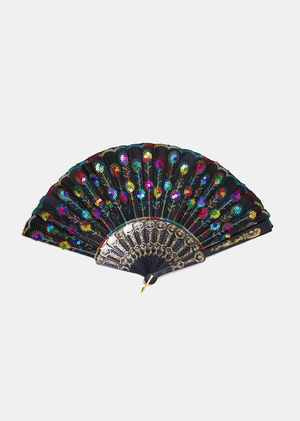 Sequin Flower Stich Folding Fan