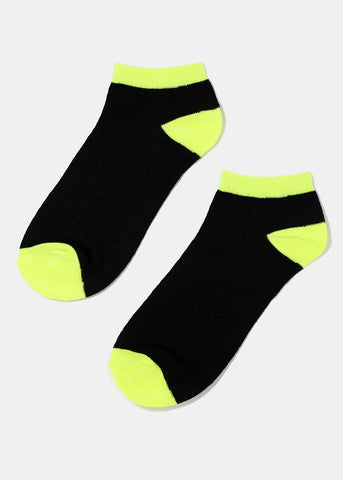 Black Contrast Ankle Socks - Neon Yellow