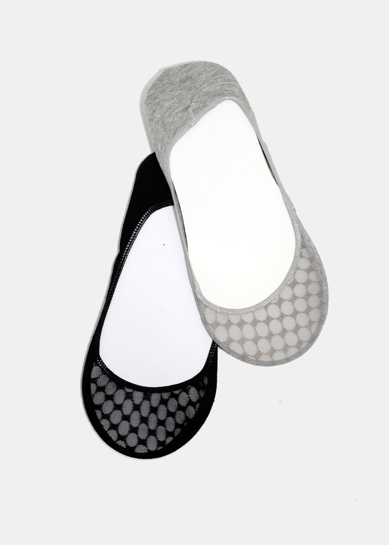 Neutral Fishnet Toe No-Show Socks