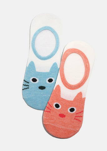Cat Face Graphic No-Show Socks