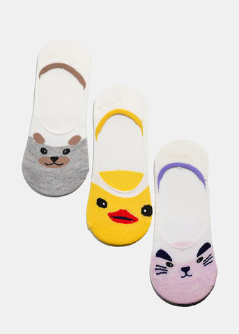 Animal Face Graphic No-Show Socks