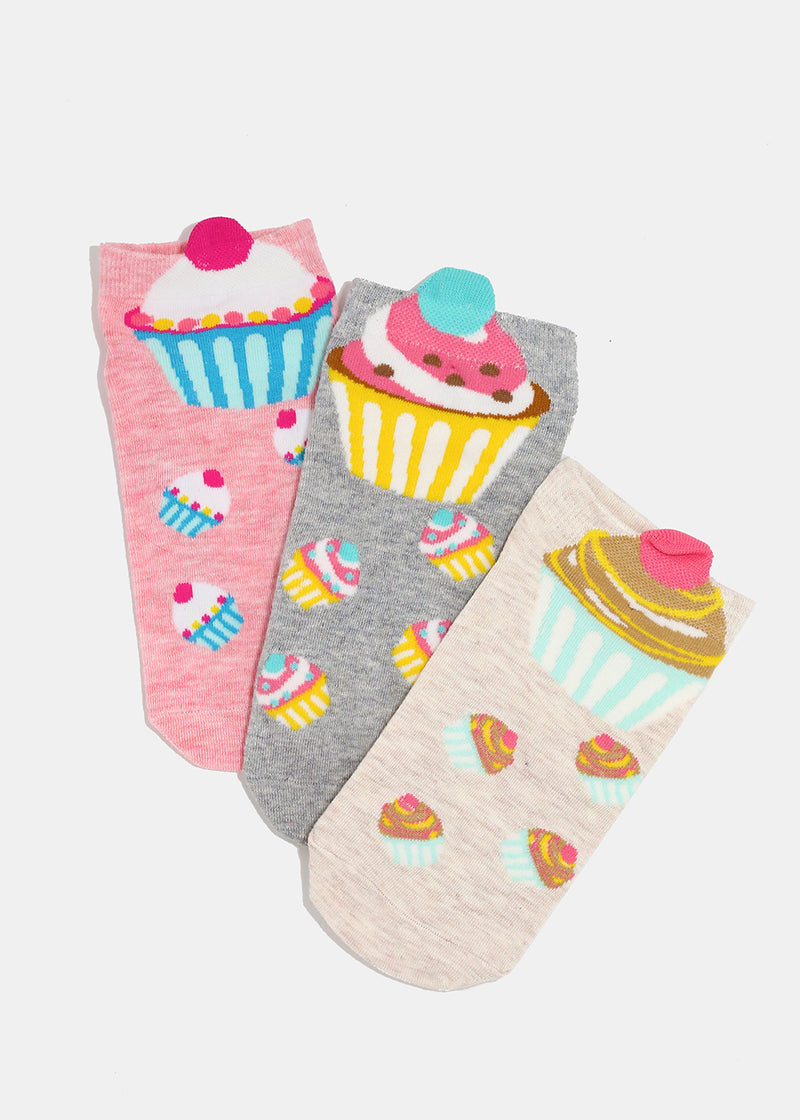 Cupcake Print Low-Cut Socks