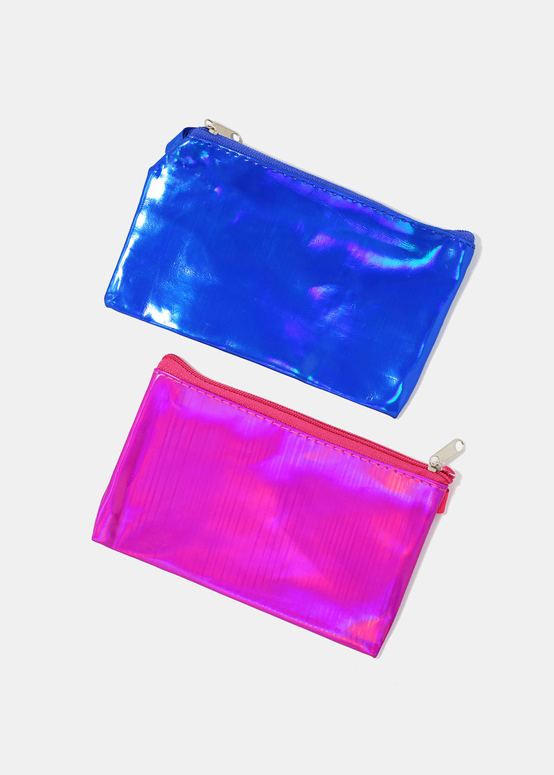 Zippered Holographic Wristlet Pouch