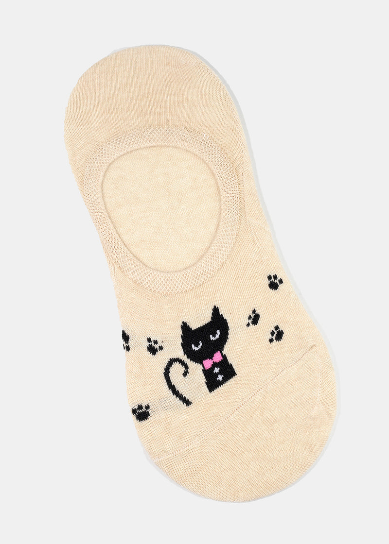 Cat Print No-Show Socks