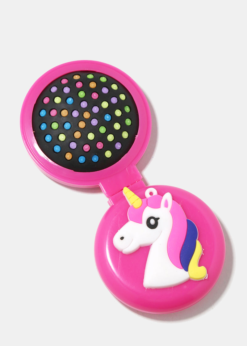 Unicorn Travel Hair Brush & Mirror