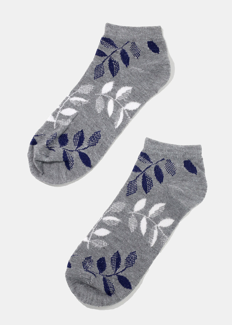 Leaf Print Ankle Socks