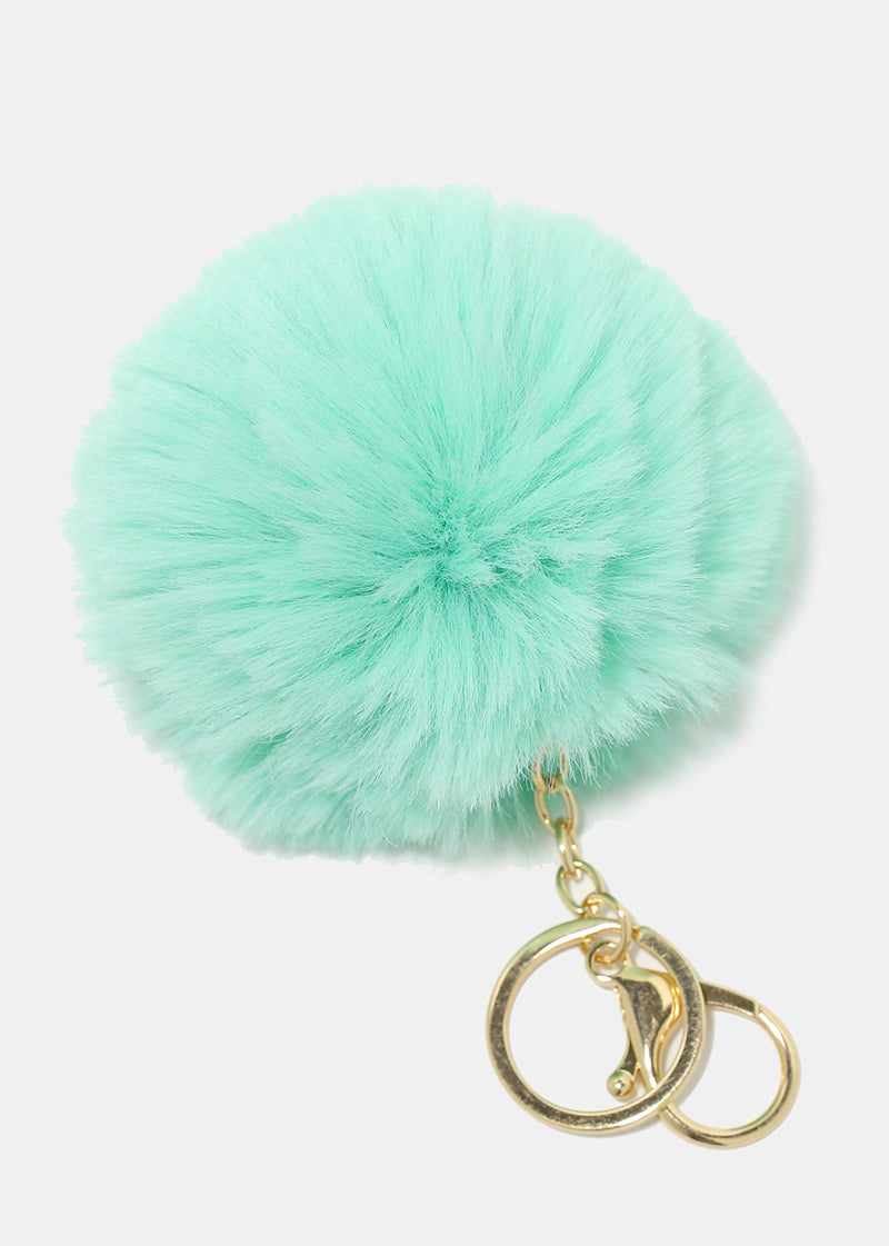 Solid Colored Pom Pom Keychain