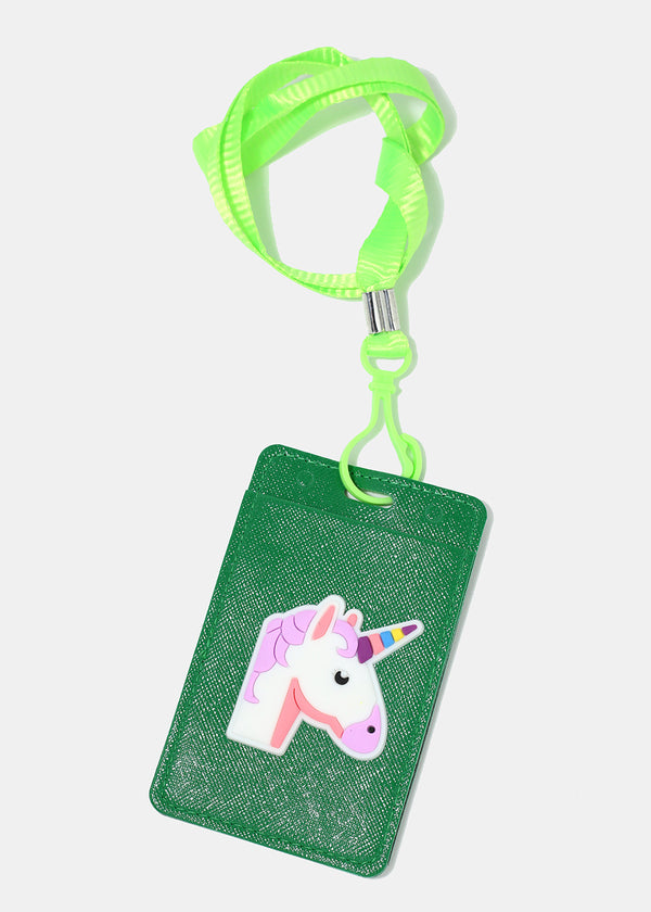 Unicorn Faux Leather ID Lanyard