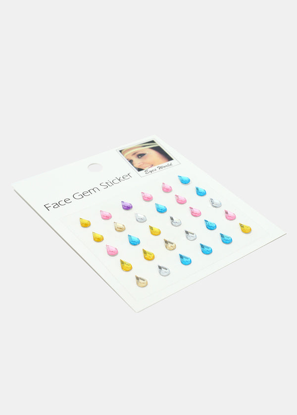 Teardrop Shape Face Gem Stickers