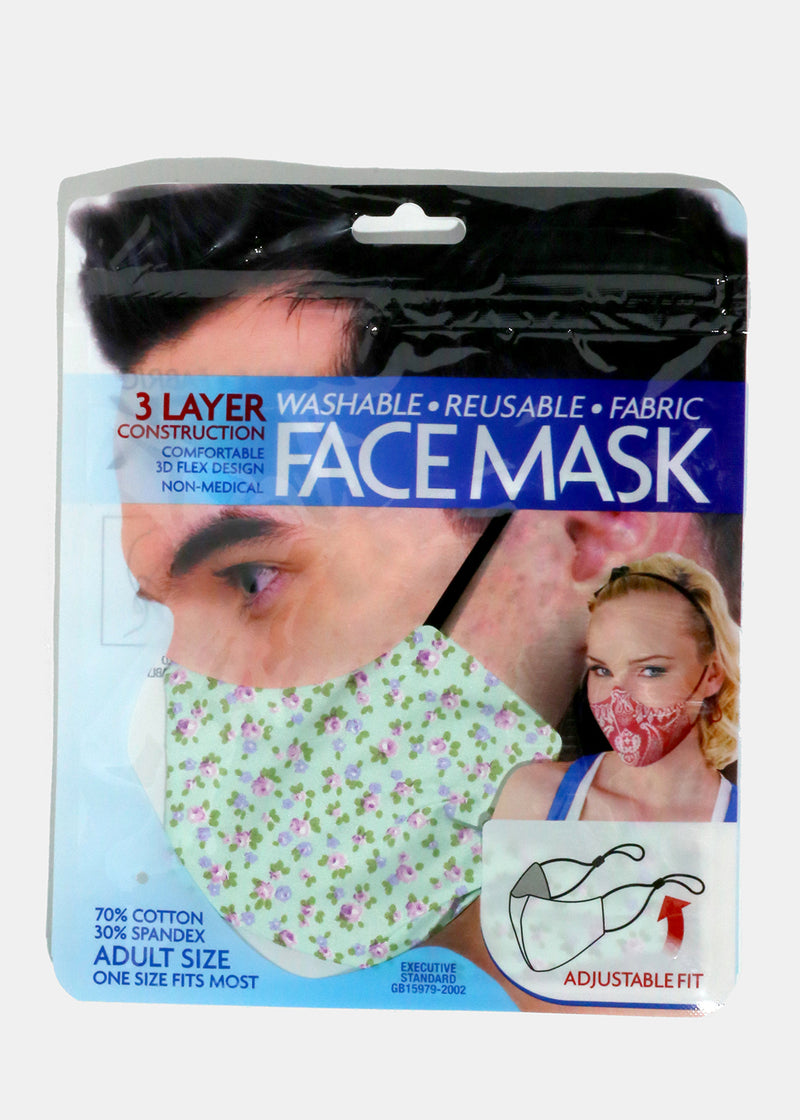 Mini Floral Adjustable Face Mask