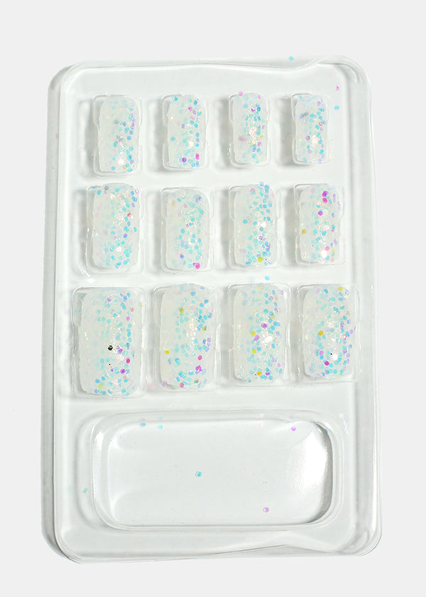 Glitter Square Tip Press-On Nails