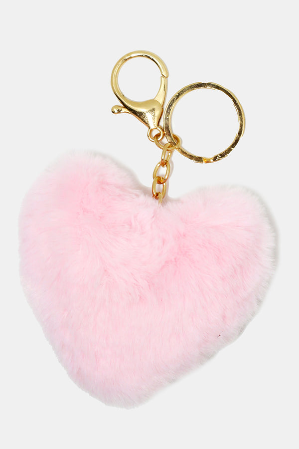 Small Fuzzy Heart Keychain