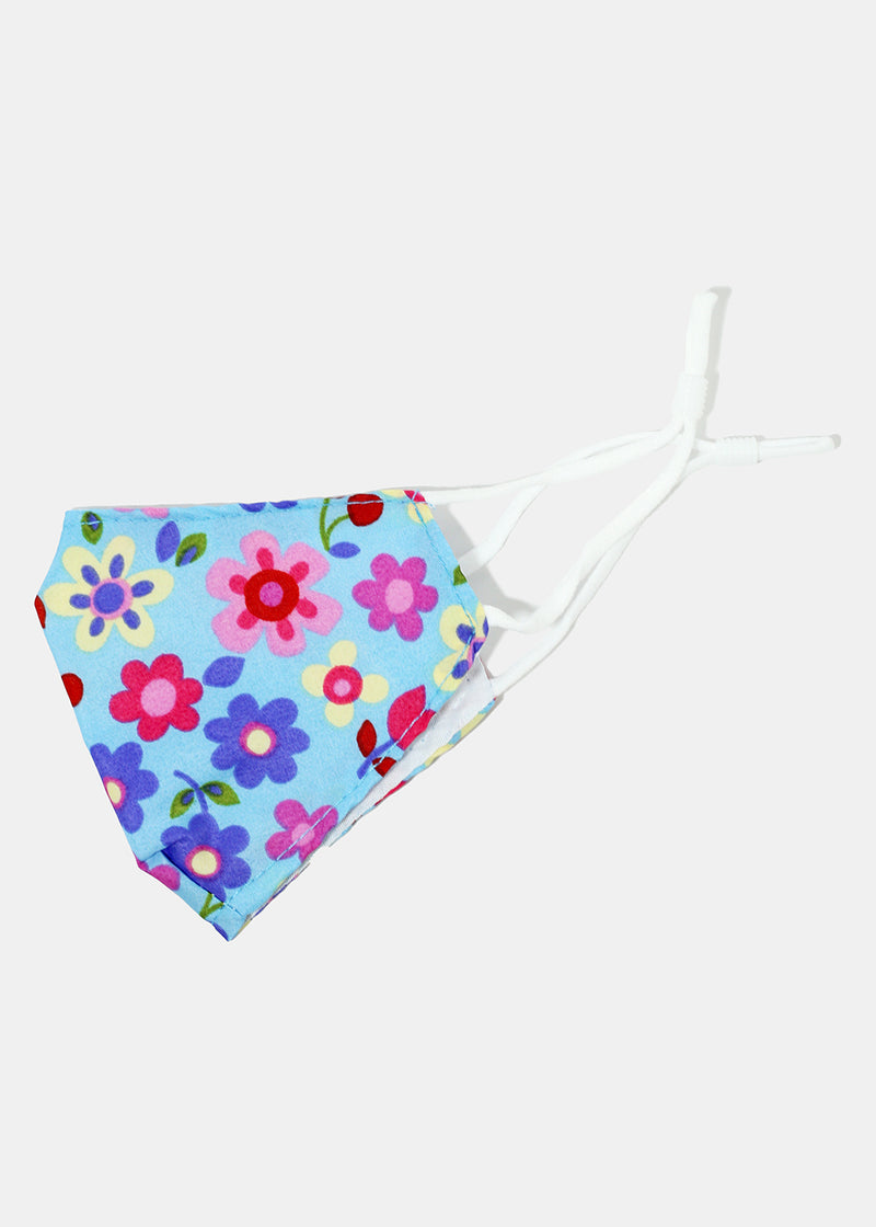 Colorful Flowery Kid's Face Mask