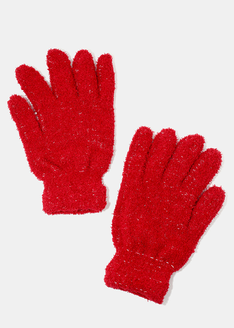 Solid Color Fuzzy Gloves