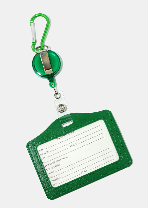 Solid Color Retractable ID Holder