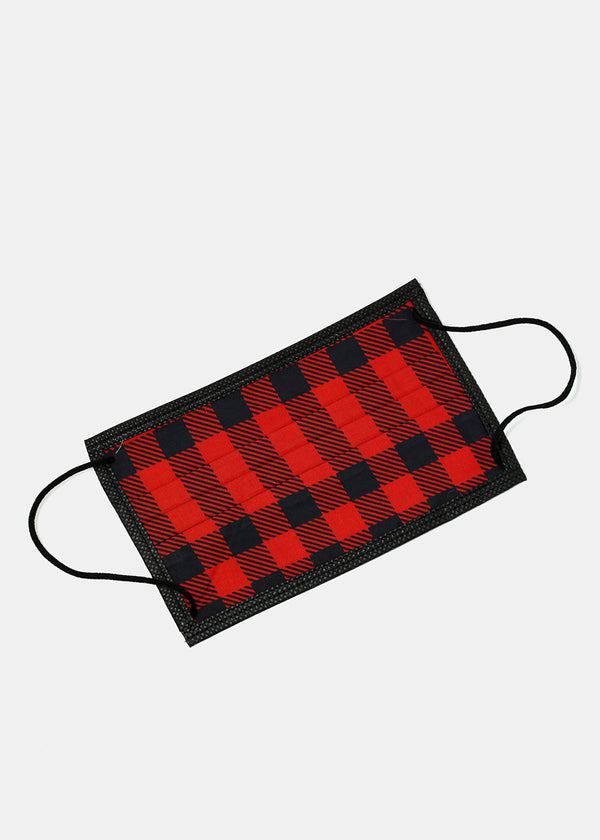 Adult Size Re-Usable Plaid Print Face Mask