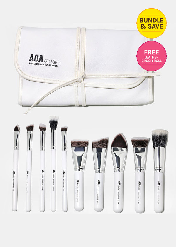 10-Piece Sculpting Brush Set + Brush Roll (Best Value)