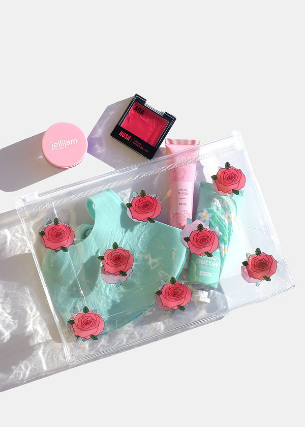 AOA Clear Makeup Pouch - Roses