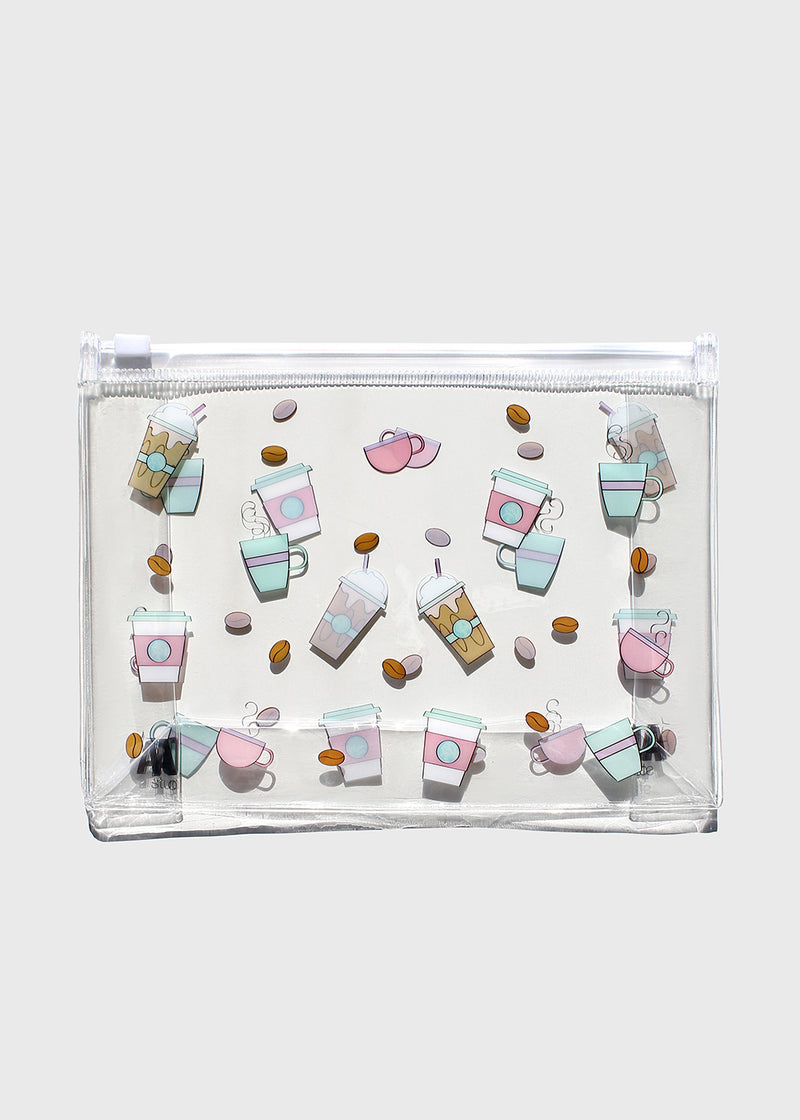 AOA Clear Makeup Pouch - Coffee