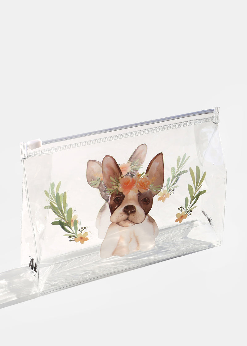 AOA Clear Makeup Pouch - Flower Crown Frenchie