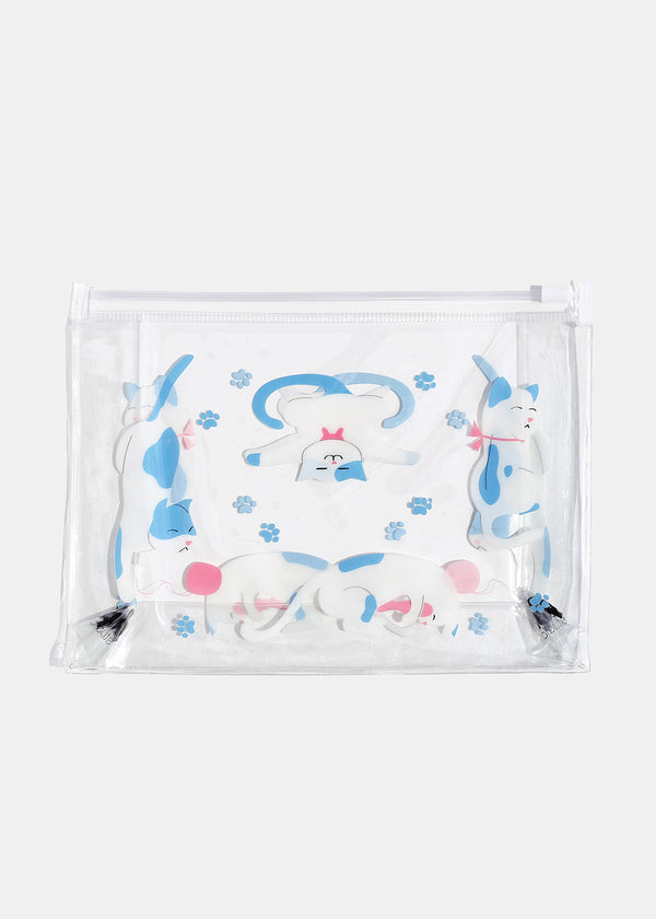 AOA Clear Makeup Pouch - Playful Kittens