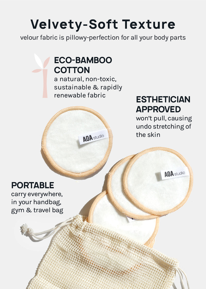AOA Velvet Bamboo Reusable Makeup Pads