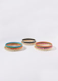 6 Piece Pearl & Colored Bangle Set