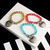 Heart Pendant Beaded Bracelet