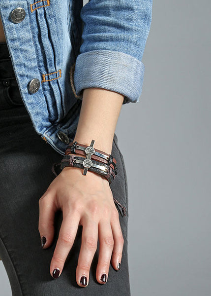 Cross & Coin Leather Bracelet