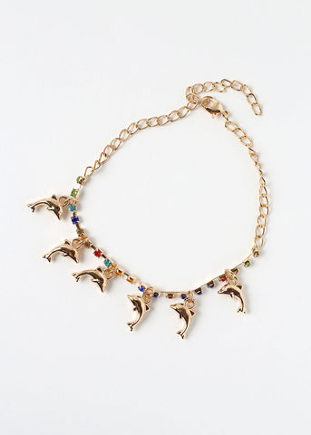 Dolphin Charm & Rhinestone Anklet