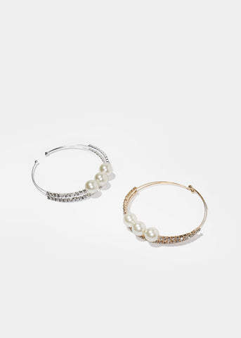 Open Pearl & Rhinestone Bangle