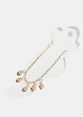 Dangle Heart Rhinestone Chain Anklet