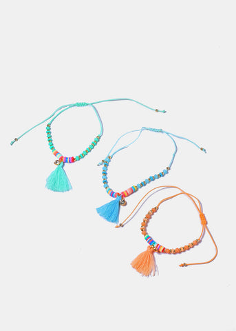 Multi-Color Bead & Tassel Anklet