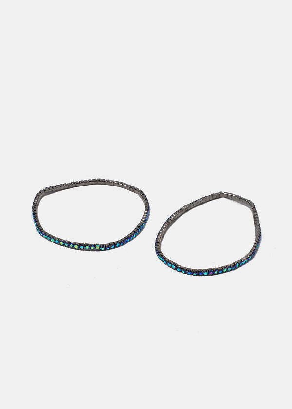 2 Piece Colored Rhinestone Bracelets