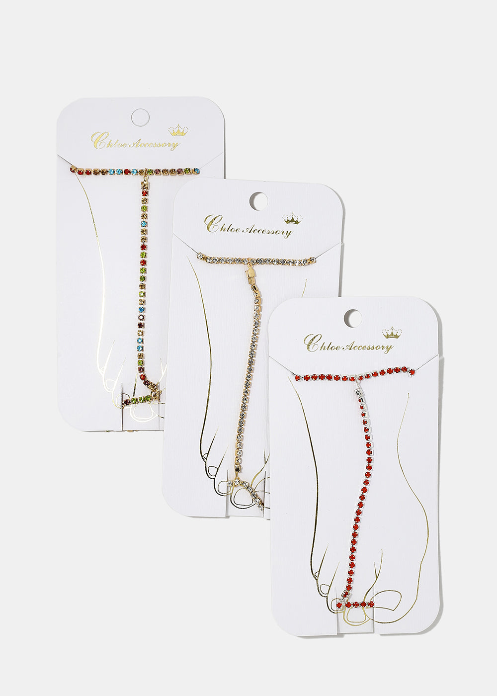 Colored Rhinestone Foot Anklet