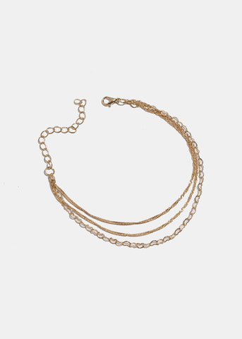 Multi Heart Chain Link Anklet