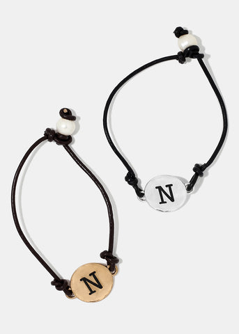 "Faux Leather ""N"" Initial Bracelet"