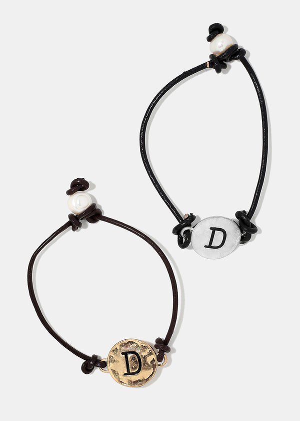 "Faux Leather ""D"" Initial Bracelet"