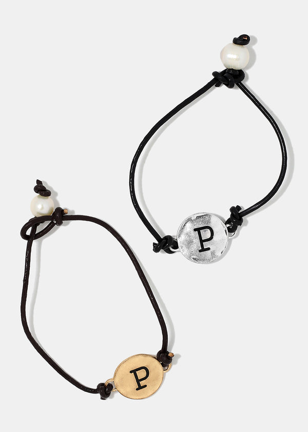 "Faux Leather ""P"" Initial Bracelet"