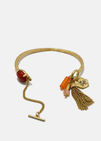 """Be Bright"" Charm Bangle Bracelet- Coral"
