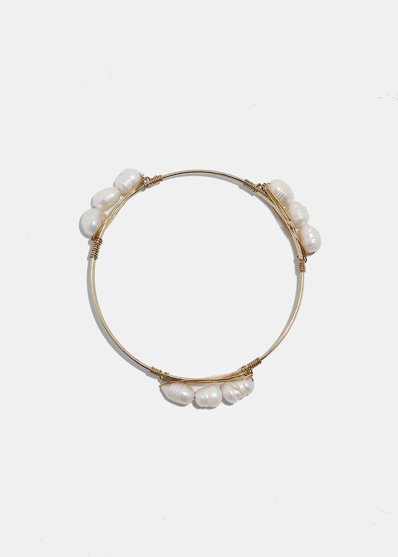 Pearlescent Bead Gold Bangle