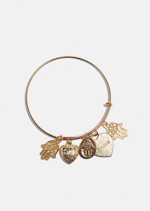 Hamsa Hand & Heart Charm Bangle