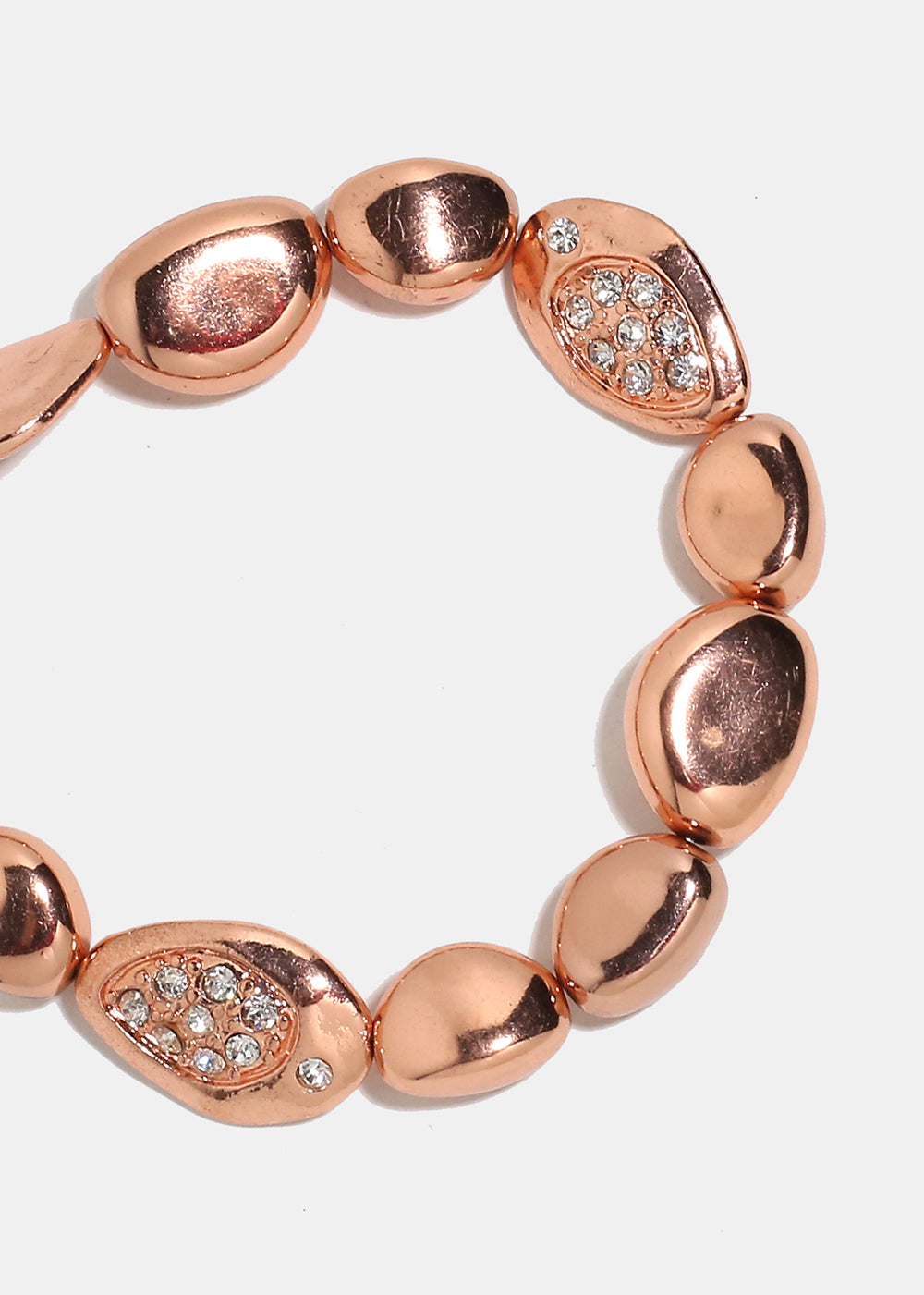 Rose Gold Metal Stone Bead Bracelet