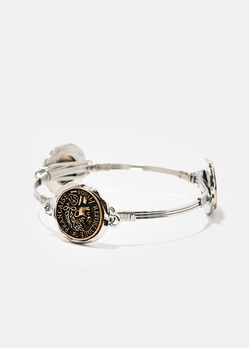 Silver & Gold Republique Francaise Coin Bracelet