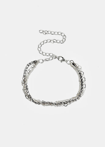 Rhinestone & Heart Layered Anklet