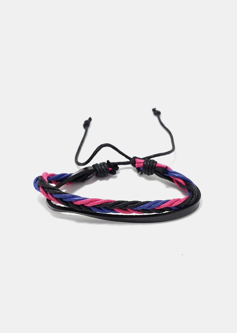 Multi Braided Faux Leather Bracelet