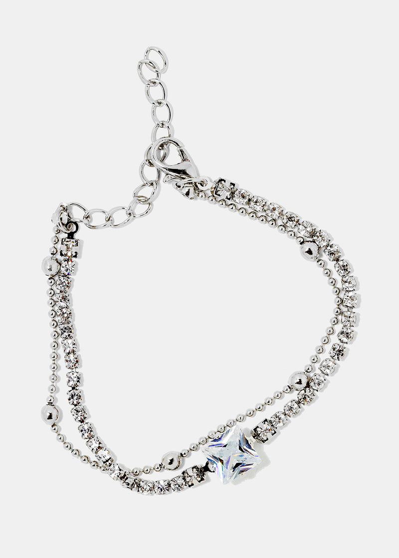 Square Gem Layered Chain Bracelet
