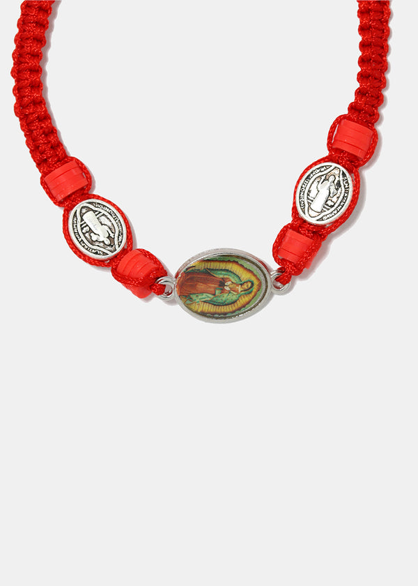 Virgin Mary Red Drawstring Bracelet